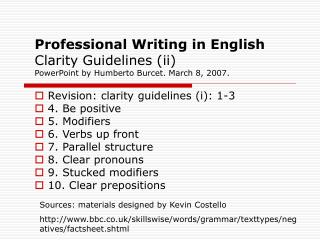 Professional Writing in English Clarity Guidelines (ii)