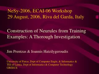 NeSy-2006, ECAI-06 Workshop 29 August, 2006, Riva del Garda, Italy