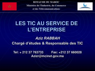 ROYAUME DU MAROC Minist re de lIndustrie, du Commerce  et des T l communications
