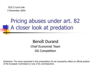 Pricing abuses under art. 82 A closer look at predation