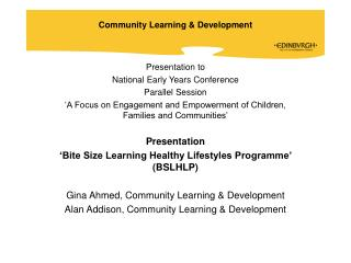 Presentation to National Early Years Conference Parallel Session