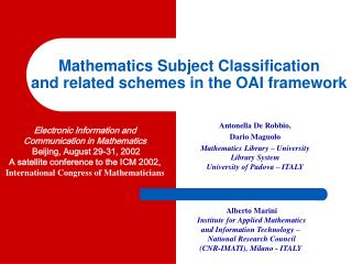 Mathematics Subject Classification and related schemes in the OAI framework