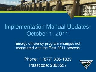 Implementation Manual Updates:  October 1, 2011