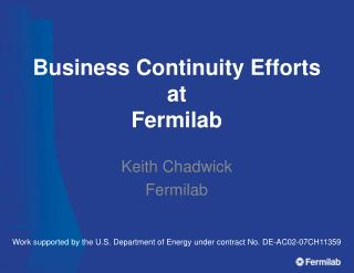 Business Continuity Efforts at Fermilab