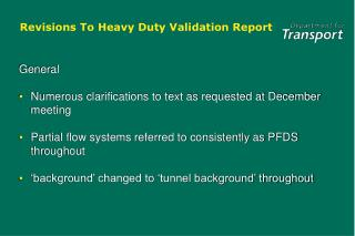 Revisions To Heavy Duty Validation Report