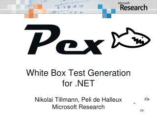 Pe x xxx White Box Test Generation for .NET Nikolai Tillmann, Peli de Halleux Microsoft Research
