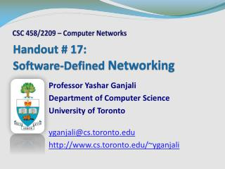 Handout # 17:  Software-Defined  Networking