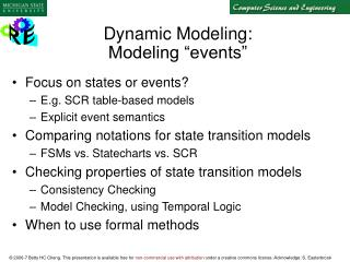 Dynamic Modeling: Modeling �events�