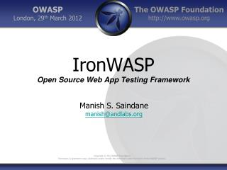 IronWASP Open Source Web App Testing Framework