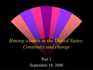 Hmong women in the United States: Continuity and change