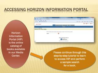 Accessing Horizon Information Portal