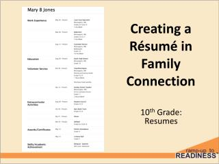 Creating a  R é sum é in Family Connection
