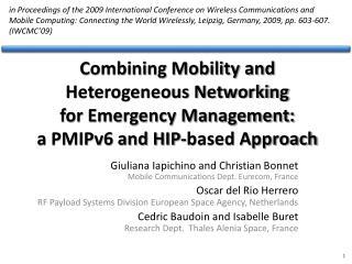 Giuliana Iapichino  and Christian Bonnet Mobile Communications Dept. Eurecom, France
