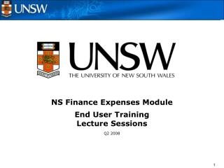 NS Finance Expenses Module End User Training Lecture Sessions Q2 2008