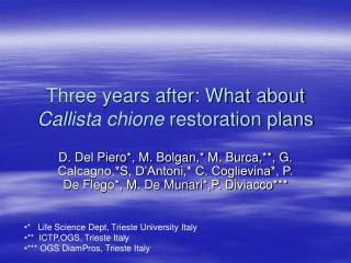 Three years after: What about Callista chione  restoration plans