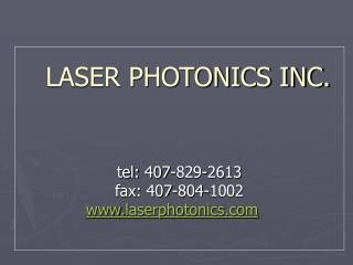 LASER PHOTONICS INC.
