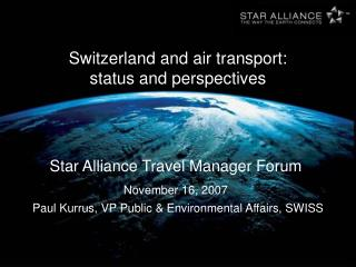 Switzerland and air transport: status and perspectives