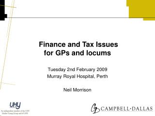 Finance and Tax Issues for GPs and locums