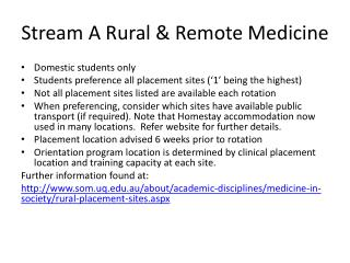 Stream A Rural & Remote Medicine
