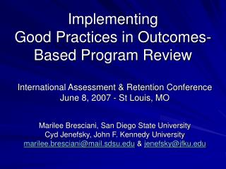 Implementing  Good Practices in Outcomes-Based Program Review