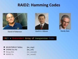 RAID2: Hamming Codes