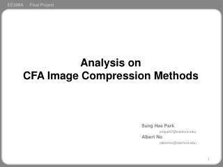 Analysis on  CFA Image Compression Methods