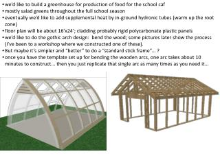 we'd like to build a greenhouse for production of food for the school caf