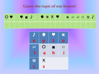 Guess the topic of our lesson!