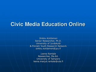 Civic Media Education Online