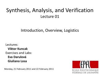 Synthesis, Analysis, and Verification Lecture  01