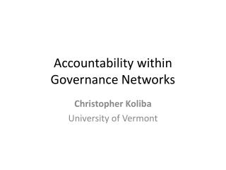 Accountability within Governance Networks