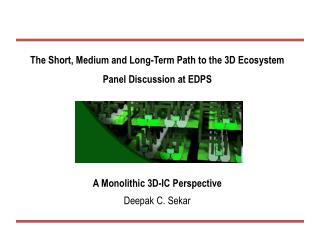 The Short, Medium and Long-Term Path to the 3D Ecosystem Panel Discussion at EDPS