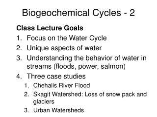 Biogeochemical Cycles - 2