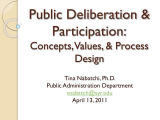 Public Deliberation & Participation: Concepts, Values, & Process Design