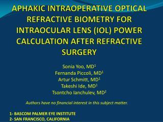 APHAKIC INTRAOPERATIVE OPTICAL REFRACTIVE BIOMETRY