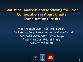 Statistical Analysis and Modeling for Error Composition in Approximate Computation Circuits