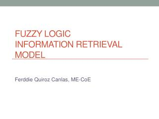 Fuzzy Logic   Information Retrieval Model
