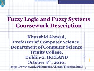 Fuzzy Logic and Fuzzy Systems Coursework Description
