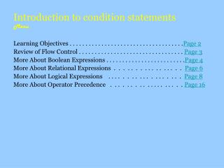 Introduction to condition statements Menu