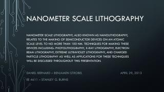 Nanometer scale lithography
