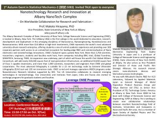 Prof. Makoto Hirayama, PhD Vice President, State  University of New  York at Albany