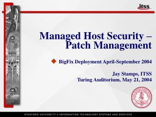 Managed Host Security – Patch Management