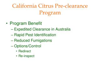 California Citrus Pre-clearance Program