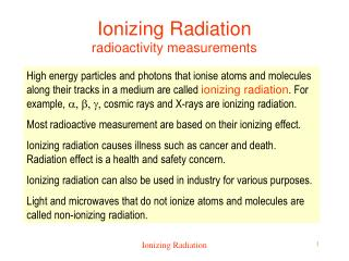 Ionizing Radiation radioactivity measurements
