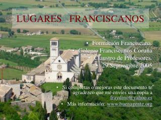 LUGARES   FRANCISCANOS