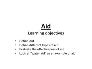 Aid Learning objectives