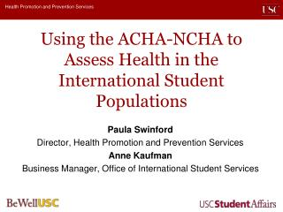 Using the ACHA-NCHA to Assess Health in the International Student Populations
