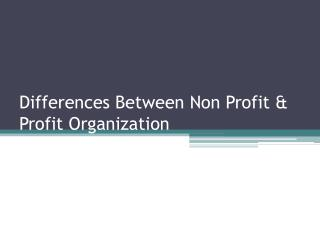 Differences Between Non Profit & Profit Organization
