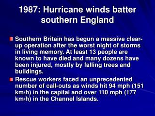 1987: Hurricane winds batter southern England
