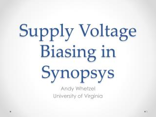 Supply Voltage  Biasing in Synopsys